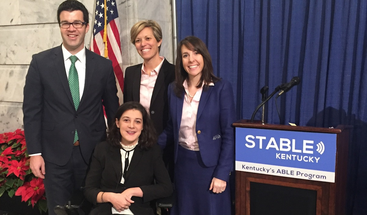 Photo of State Senator Will Schroder, Ashley Meier Barlow, Parent Allison Ball, KY State Treasurer Amanda Stahl, Advocate