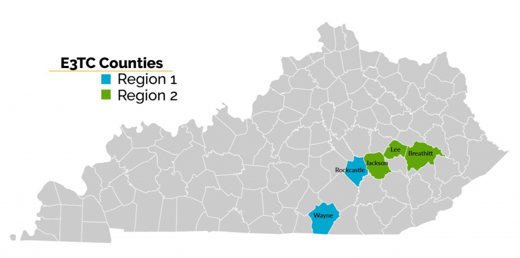 Kentucky map showing E3TC active regions