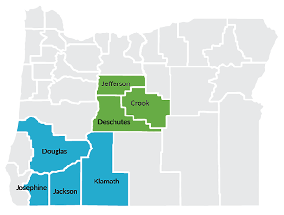 Oregon Map with E3TC counties shaded