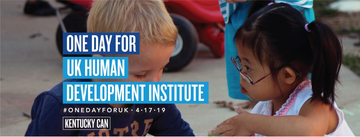 Little girl with Down syndrome and boy playing at preschool with text that read One Day for UK Human Development Institute.