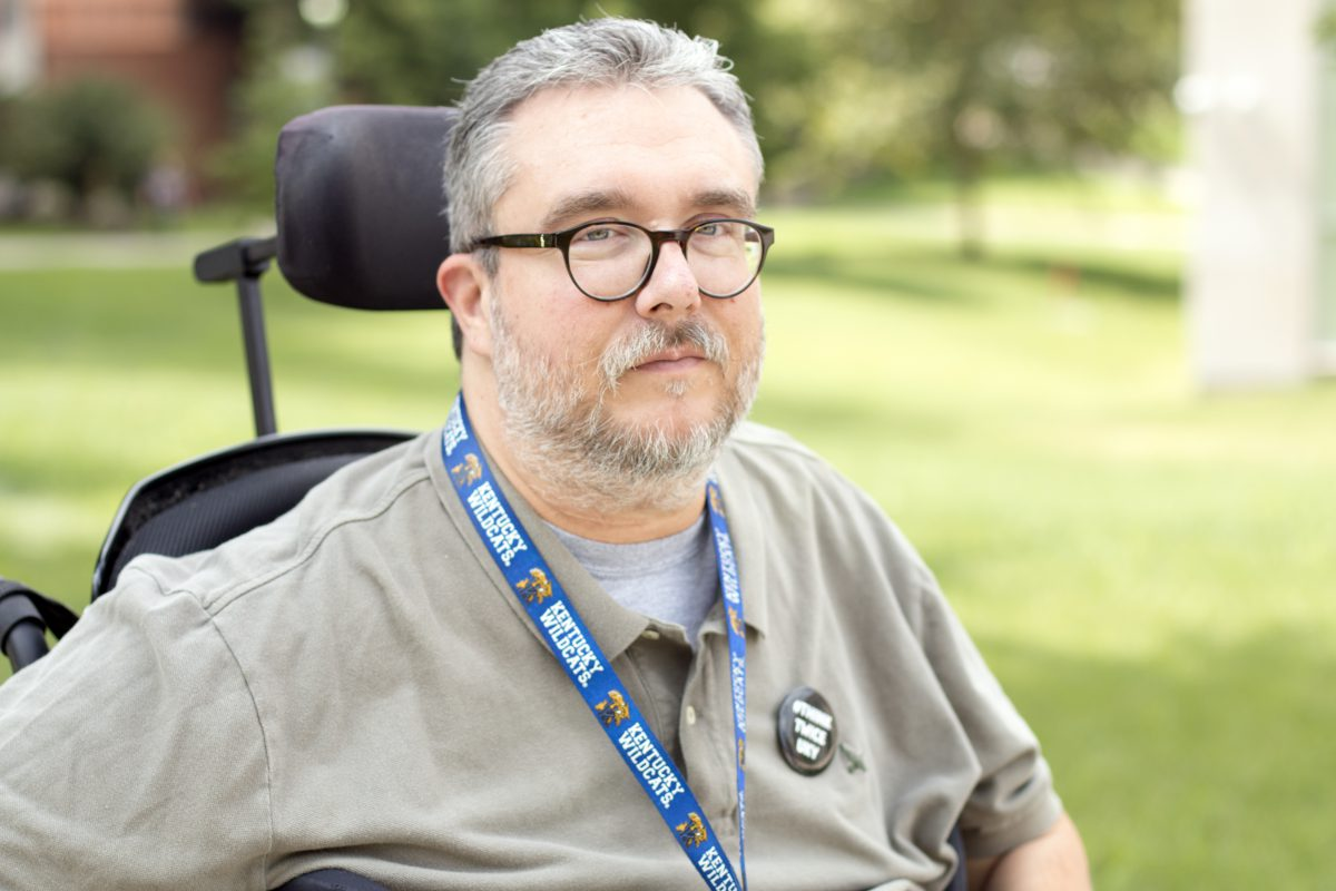 Tony Lobianco pictured, white man with salt and pepper hair, short beard, and he uses a wheelchair