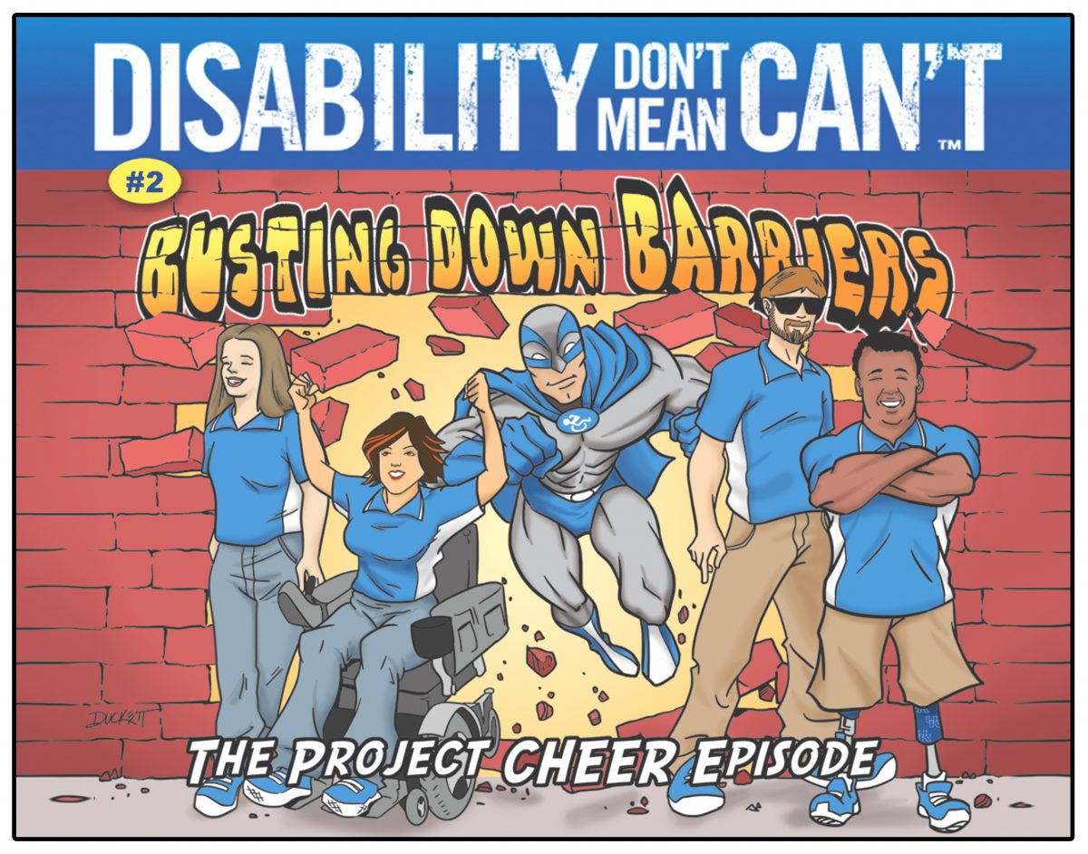 Photo of Comic book featuring 4 youth with disabilities and a superhero.
